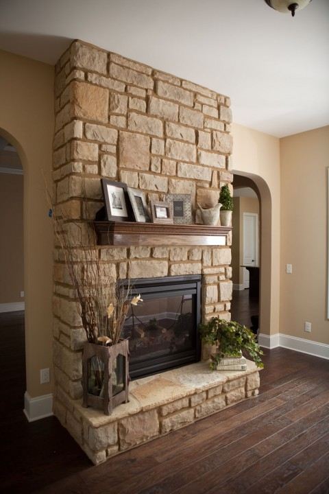 Stone Fireplace with Wood Mantel & Stone Idea Gallery - Brandco